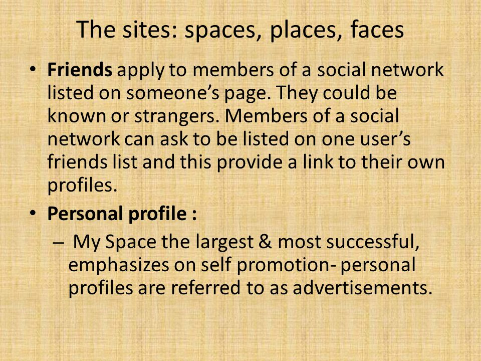 The sites: spaces, places, faces Friends apply to members of a social network listed on someone's page. They could be known or strangers. Members of a