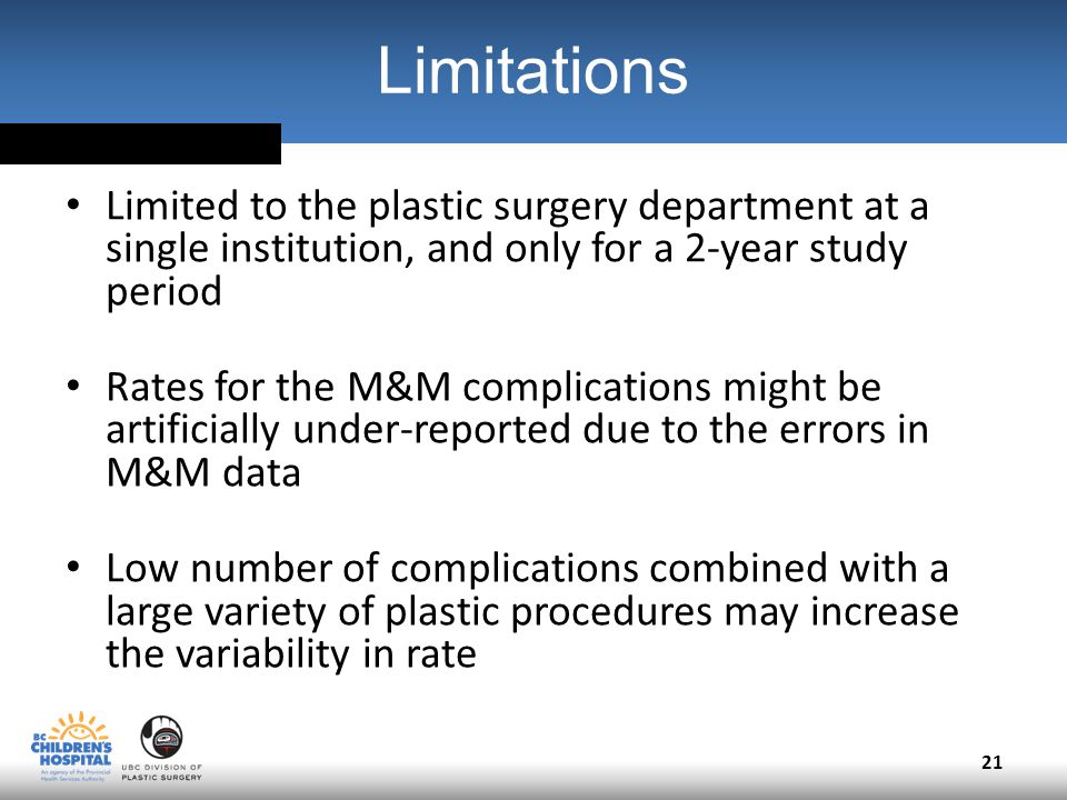 Limitations Limited to the plastic surgery department at a single institution, and only for a 2-year study period Rates for the M&M complications might be artificially under-reported due to the errors in M&M data Low number of complications combined with a large variety of plastic procedures may increase the variability in rate 21
