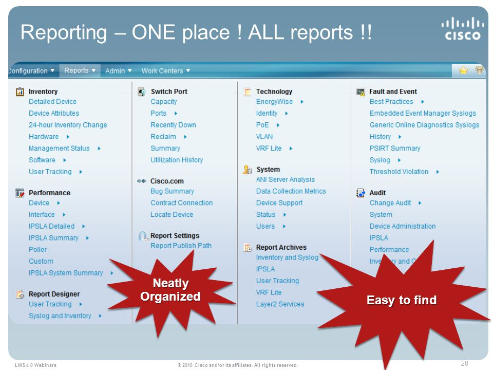 28 LMS 4.0 Webinars © 2010 Cisco and/or its affiliates.