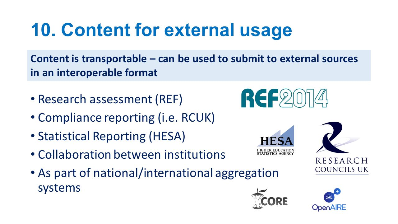 10.Content for external usage Research assessment (REF) Compliance reporting (i.e.