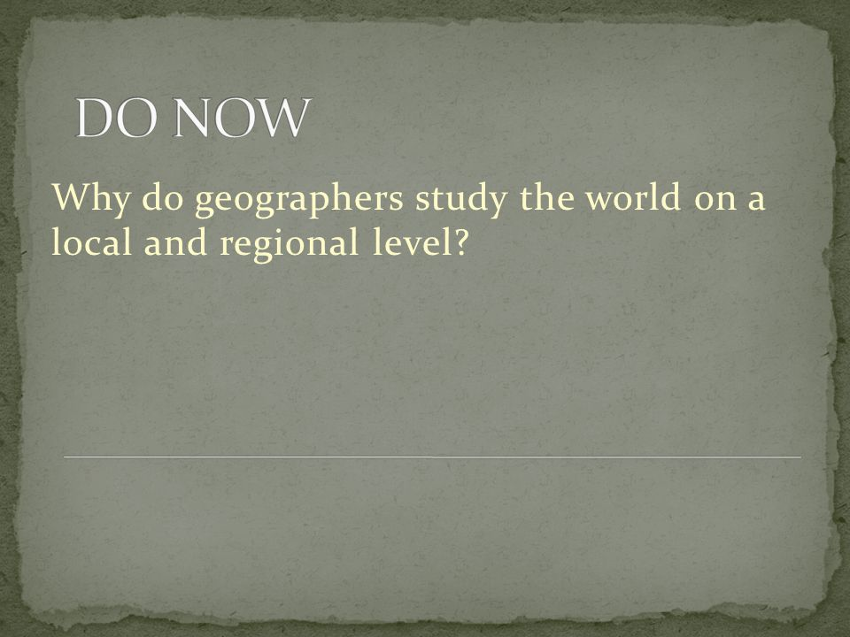 Why do geographers study the world on a local and regional level?