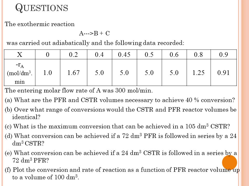 P ART (A) Recall Simpson One- Third Rule Formula: PFR Volume: Using Simpson One-Third Rule; What are the PFR and CSTR volumes necessary to achieve 40 % conversion?