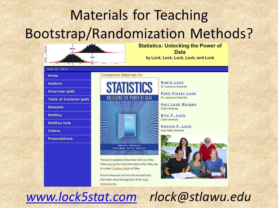 Materials for Teaching Bootstrap/Randomization Methods? www.lock5stat.comwww.lock5stat.com rlock@stlawu.edu