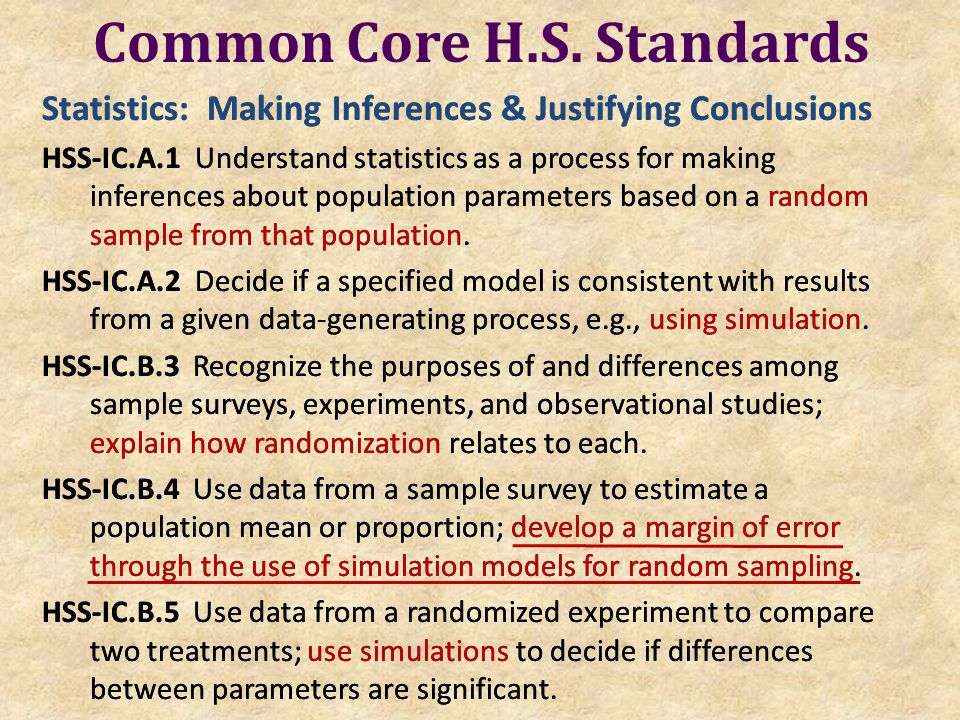 Common Core H.S. Standards Statistics: Making Inferences & Justifying Conclusions HSS-IC.A.1 Understand statistics as a process for making inferences