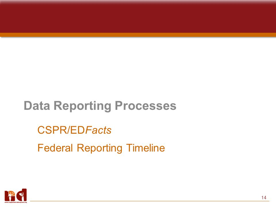 14 Data Reporting Processes CSPR/EDFacts Federal Reporting Timeline