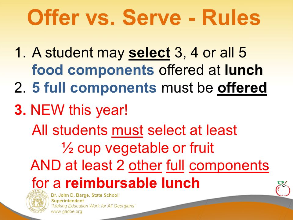 What Does the Required Fruit or Vegetable in OVS Look Like.