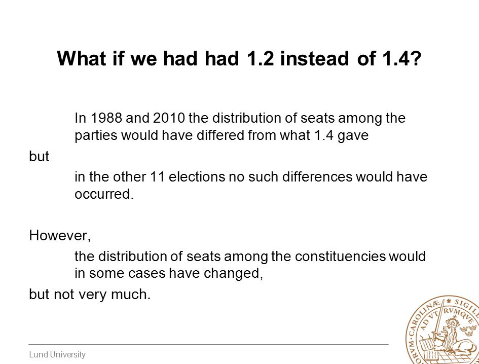 Lund University What if we had had 1.2 instead of 1.4? In 1988 and 2010 the distribution of seats among the parties would have differed from what 1.4