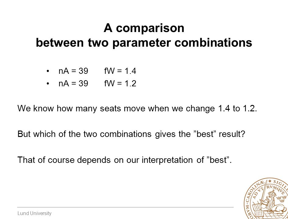 Lund University A comparison between two parameter combinations nA = 39fW = 1.4 nA = 39fW = 1.2 We know how many seats move when we change 1.4 to 1.2.