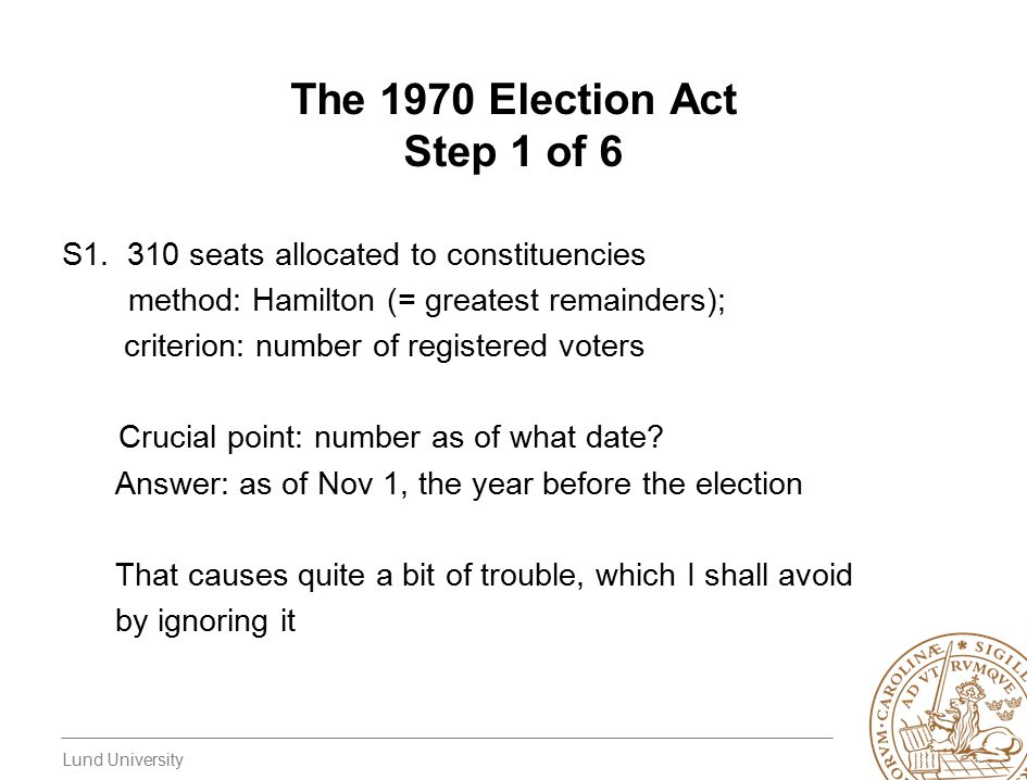 Lund University The 1970 Election Act Step 1 of 6 S1.