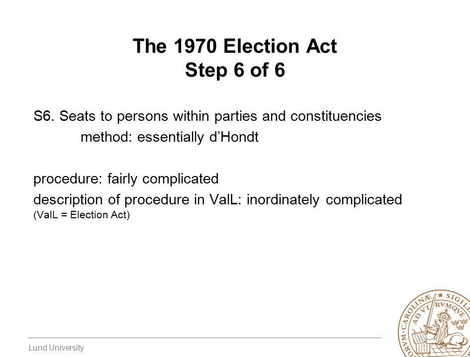 Lund University The 1970 Election Act Step 6 of 6 S6.