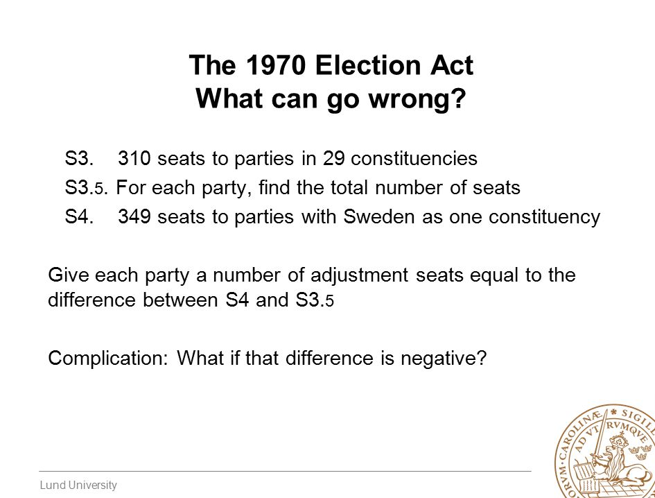Lund University The 1970 Election Act What can go wrong? S3. 310 seats to parties in 29 constituencies S3. 5. For each party, find the total number of