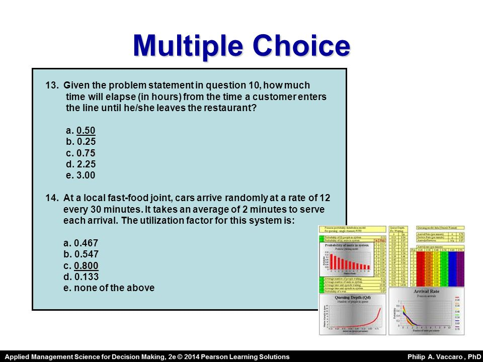 Multiple Choice 13.Given the problem statement in question 10, how much time will elapse (in hours) from the time a customer enters the line until he/she leaves the restaurant.