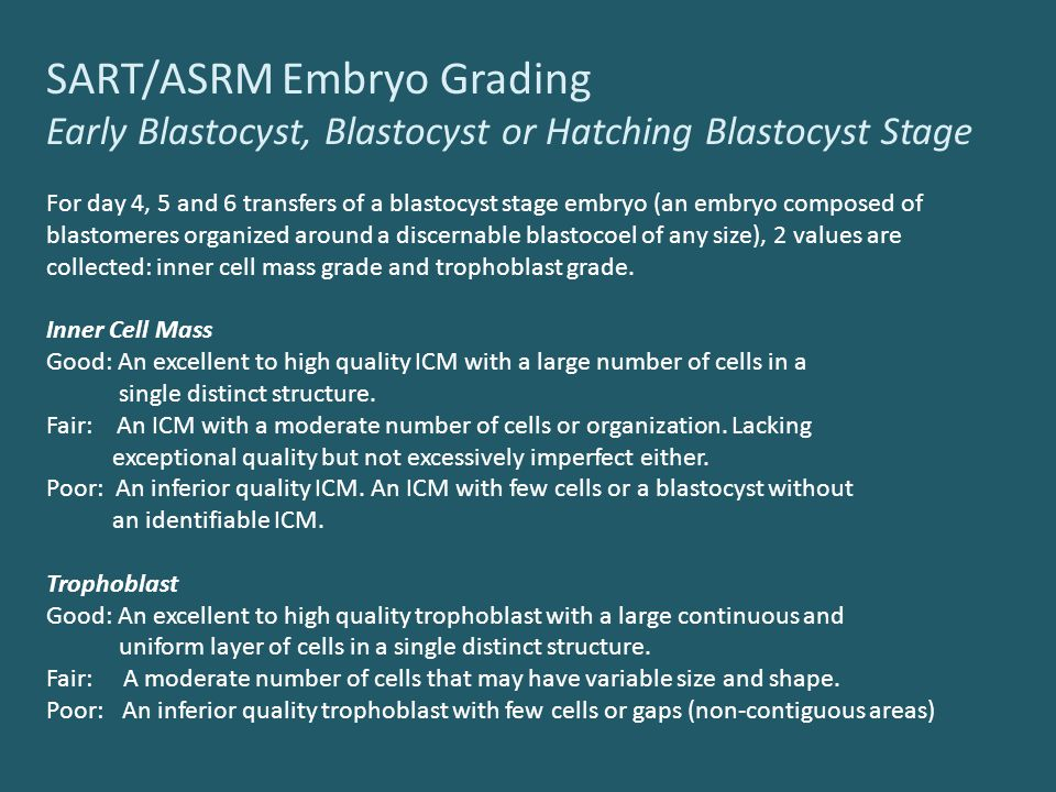 SART/ASRM Embryo Grading Early Blastocyst, Blastocyst or Hatching Blastocyst Stage For day 4, 5 and 6 transfers of a blastocyst stage embryo (an embryo composed of blastomeres organized around a discernable blastocoel of any size), 2 values are collected: inner cell mass grade and trophoblast grade.