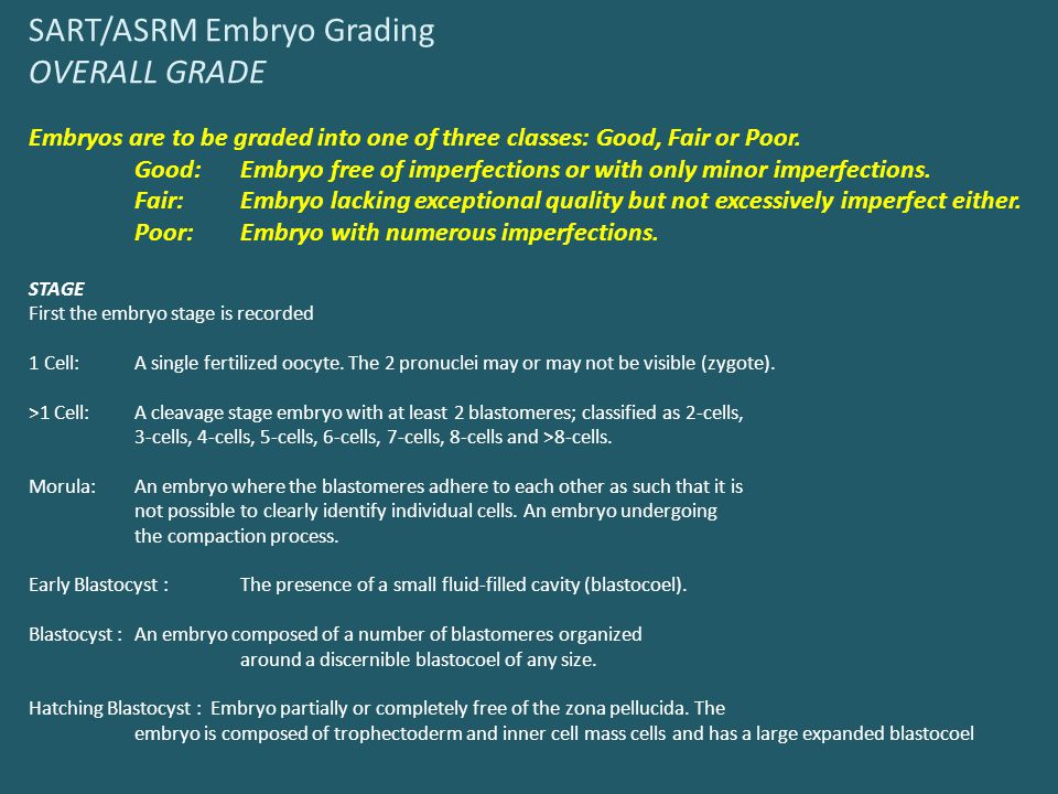 SART/ASRM Embryo Grading OVERALL GRADE Embryos are to be graded into one of three classes: Good, Fair or Poor.
