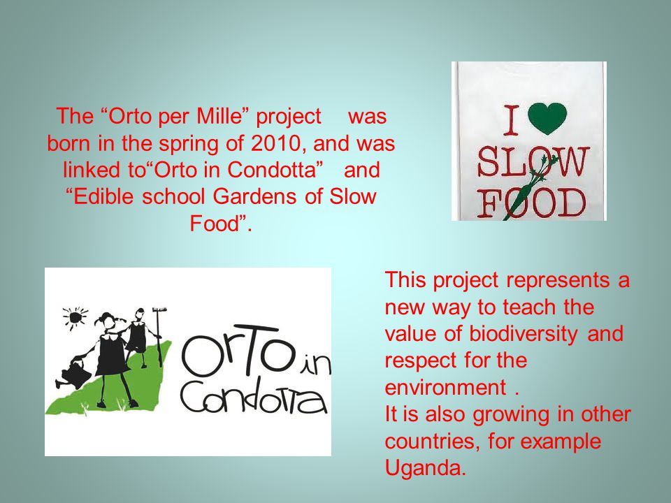 The Orto per Mille project was born in the spring of 2010, and was linked to Orto in Condotta and Edible school Gardens of Slow Food .