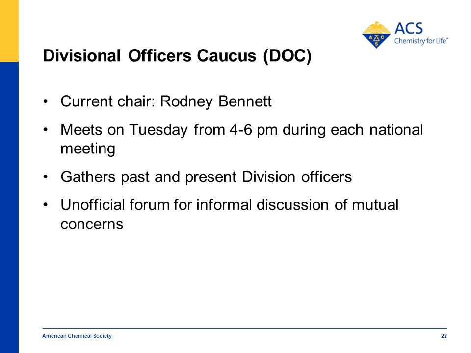 Divisional Officers Caucus (DOC) Current chair: Rodney Bennett Meets on Tuesday from 4-6 pm during each national meeting Gathers past and present Divi