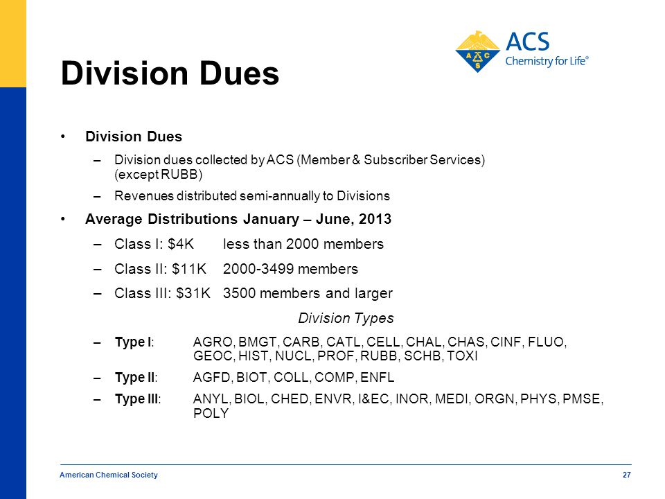 American Chemical Society 27 Division Dues –Division dues collected by ACS (Member & Subscriber Services) (except RUBB) –Revenues distributed semi-ann