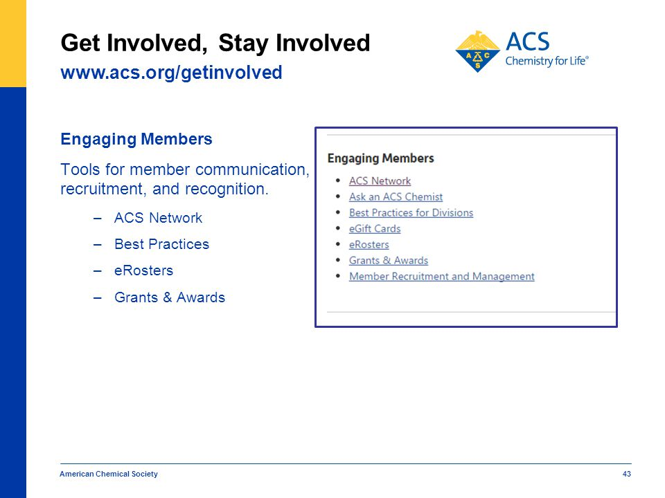 Engaging Members Tools for member communication, recruitment, and recognition. –ACS Network –Best Practices –eRosters –Grants & Awards American Chemic