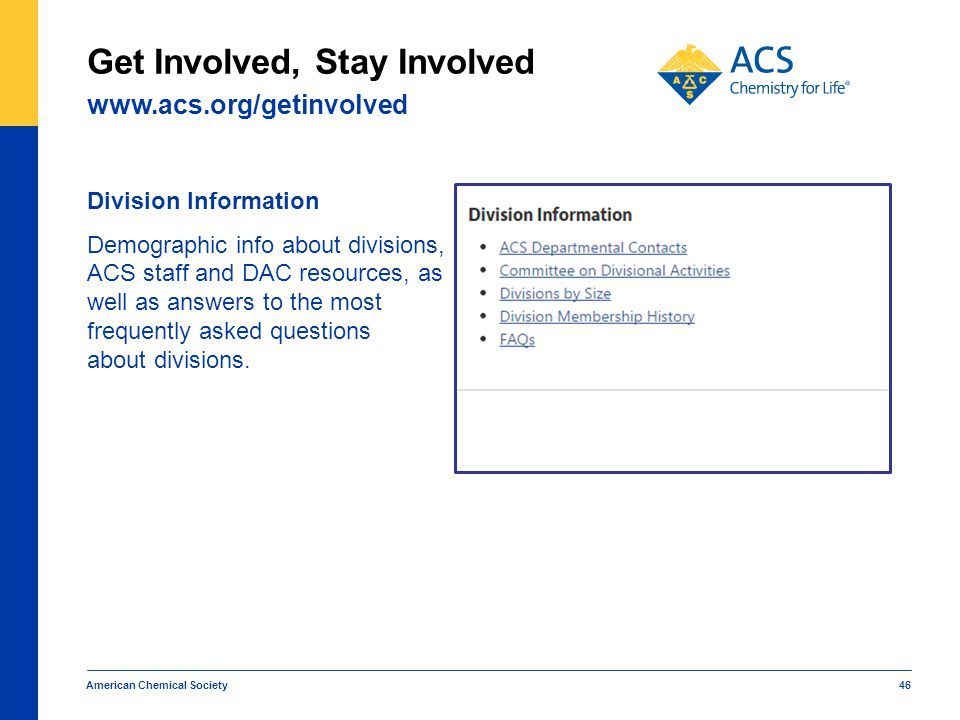Division Information Demographic info about divisions, ACS staff and DAC resources, as well as answers to the most frequently asked questions about di