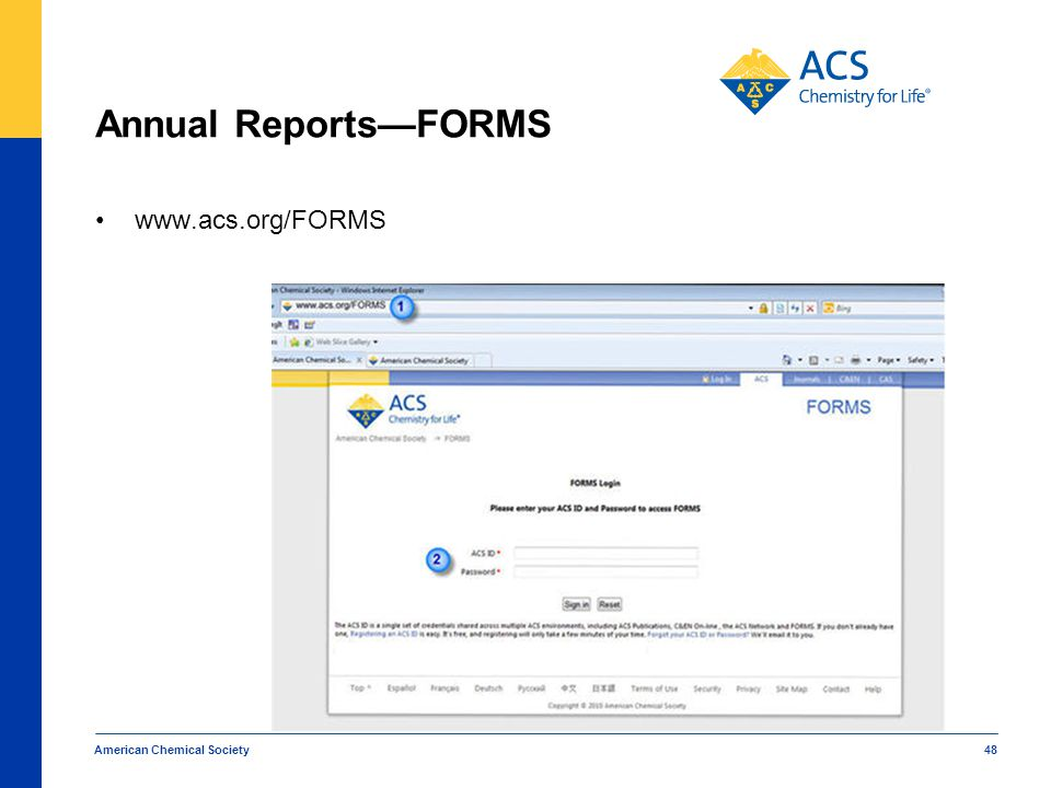 Annual Reports—FORMS www.acs.org/FORMS American Chemical Society 48