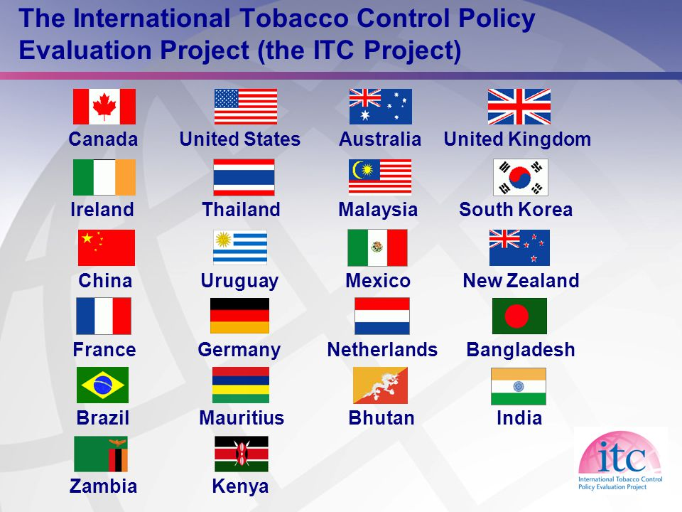 11 The International Tobacco Control Policy Evaluation Project (the ITC Project) CanadaUnited StatesAustraliaUnited Kingdom IrelandThailandMalaysiaSouth Korea ChinaNew ZealandMexicoUruguay FranceNetherlandsGermanyBangladesh IndiaBhutanBrazilMauritius ZambiaKenya