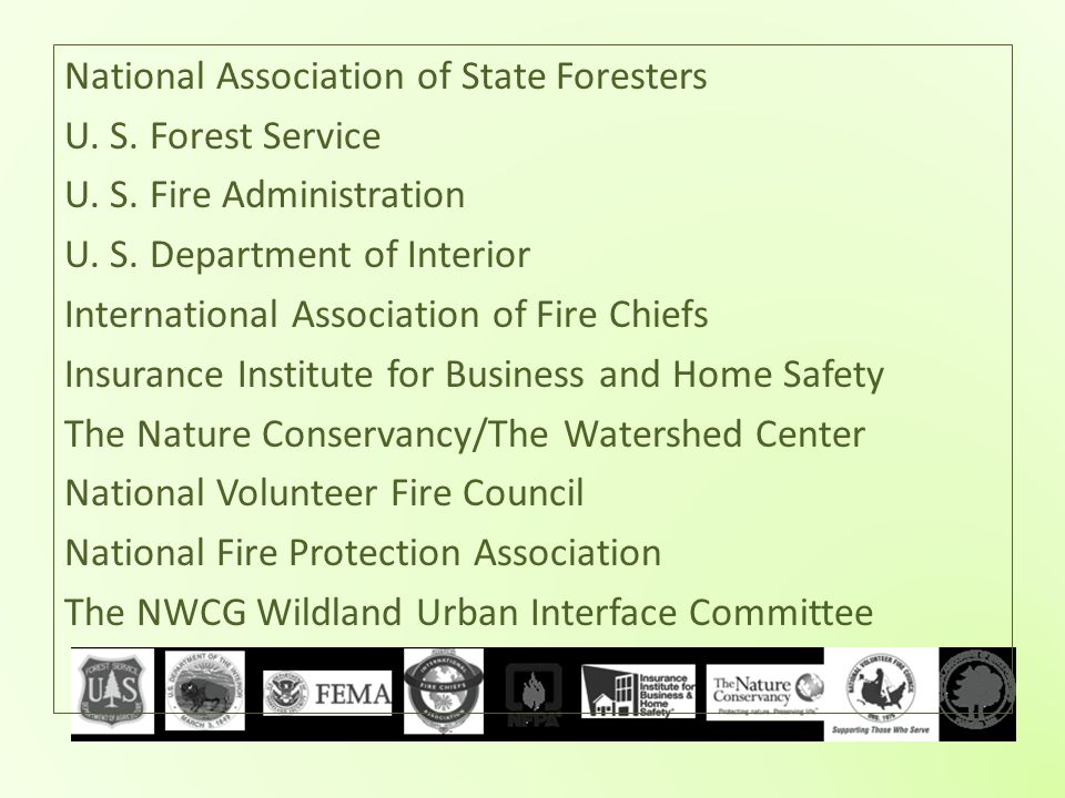 National Association of State Foresters U. S. Forest Service U. S. Fire Administration U. S. Department of Interior International Association of Fire