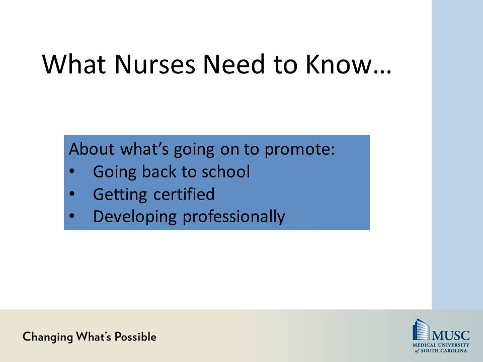 What Nurses Need to Know… About what's going on to promote: Going back to school Getting certified Developing professionally