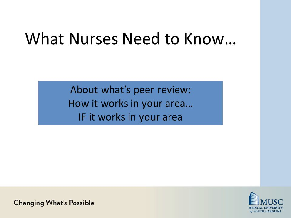 What Nurses Need to Know… About their fiscal responsibility What direct care nurses are doing on you unit to: Improve efficiency Manage budget Conserve resources