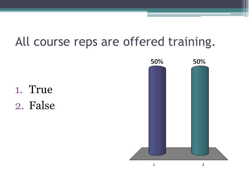 All course reps are offered training. 1.True 2.False
