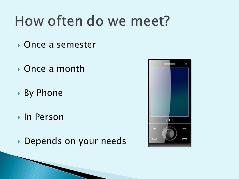  Once a semester  Once a month  By Phone  In Person  Depends on your needs