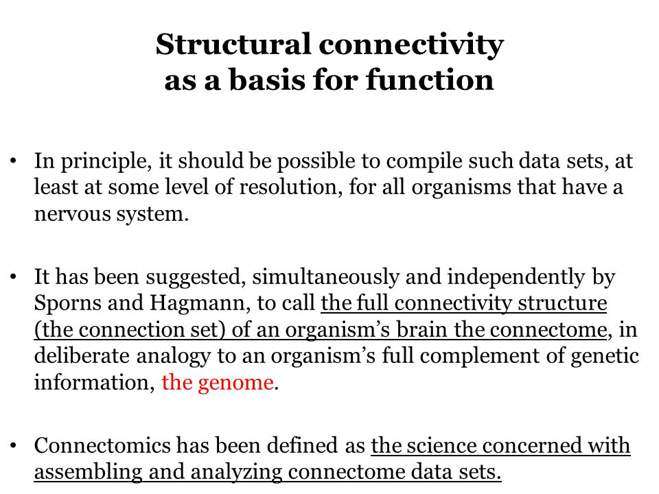 Structural connectivity as a basis for function In principle, it should be possible to compile such data sets, at least at some level of resolution, for all organisms that have a nervous system.