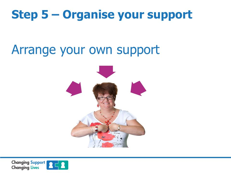 Step 5 – Organise your support Arrange your own support