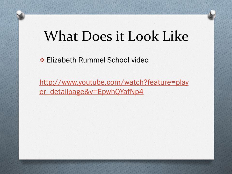 What Does it Look Like  Elizabeth Rummel School video http://www.youtube.com/watch?feature=play er_detailpage&v=EpwhQYafNp4