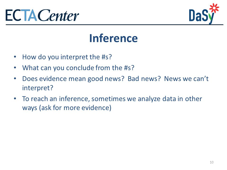10 Inference How do you interpret the #s.What can you conclude from the #s.
