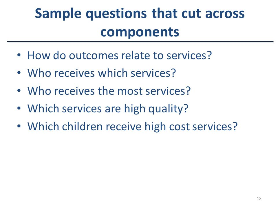 18 Sample questions that cut across components How do outcomes relate to services.