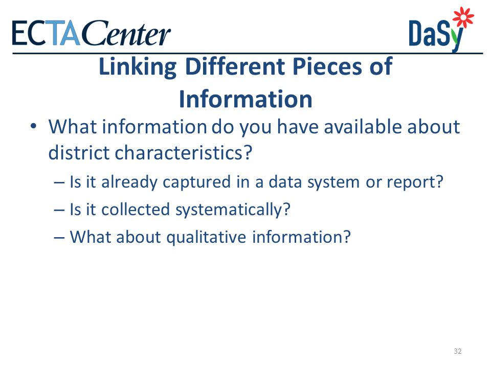 32 Linking Different Pieces of Information What information do you have available about district characteristics.