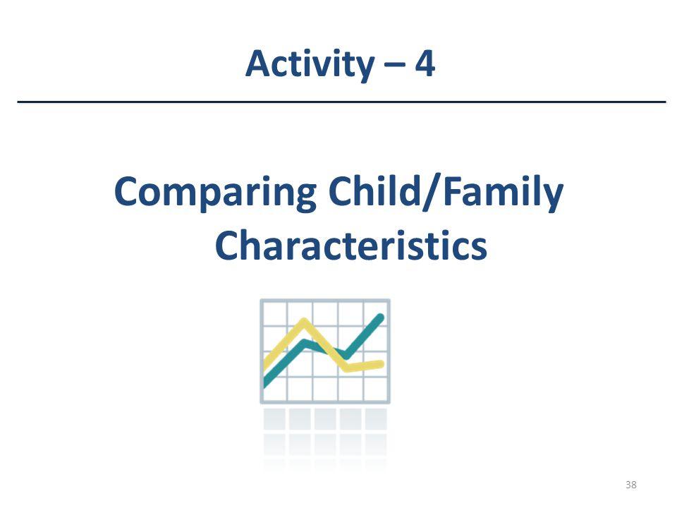 38 Activity – 4 Comparing Child/Family Characteristics