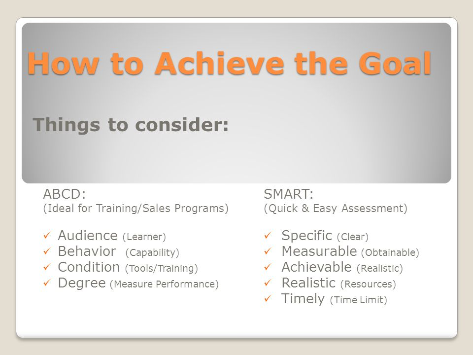 How to Achieve the Goal ABCD: (Ideal for Training/Sales Programs) Audience (Learner) Behavior (Capability) Condition (Tools/Training) Degree (Measure Performance) SMART: (Quick & Easy Assessment) Specific (Clear) Measurable (Obtainable) Achievable (Realistic) Realistic (Resources) Timely (Time Limit) Things to consider: