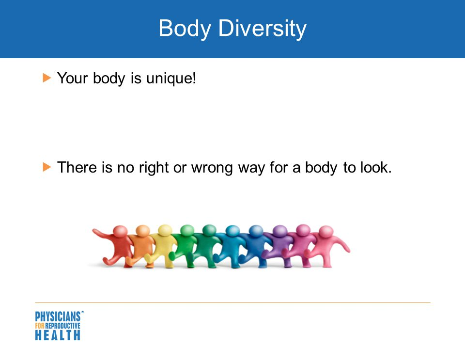  Body Diversity  Your body is unique!  There is no right or wrong way for a body to look.