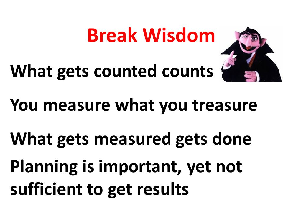 Break Wisdom What gets counted counts You measure what you treasure What gets measured gets done Planning is important, yet not sufficient to get results