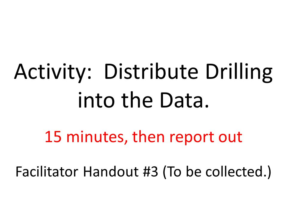 Activity: Distribute Drilling into the Data.
