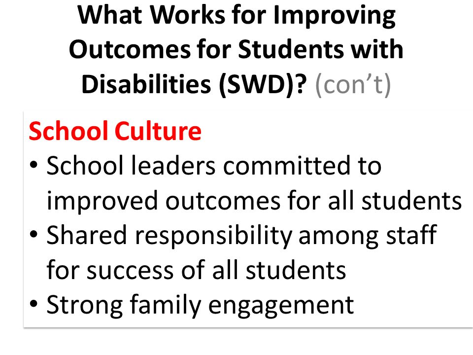 What Works for Improving Outcomes for Students with Disabilities (SWD).