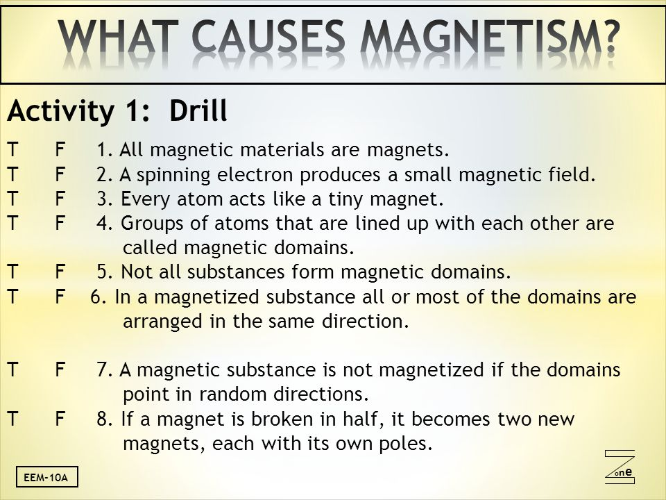 oneone Activity 1: Drill T F 1. All magnetic materials are magnets.