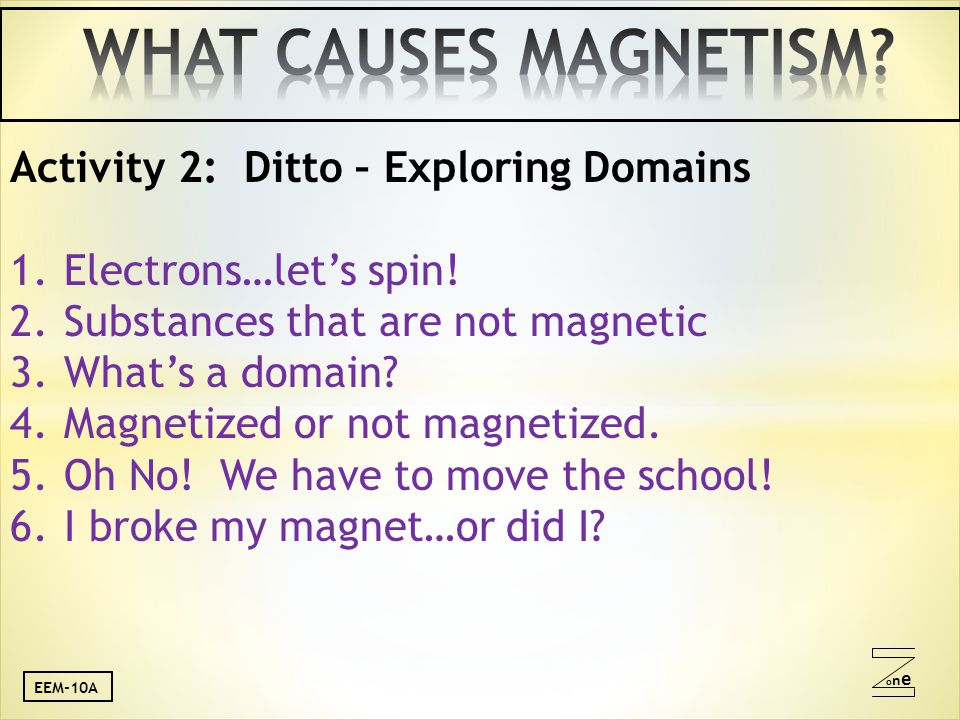 oneone Activity 2: Ditto – Exploring Domains 1.Electrons…let's spin.