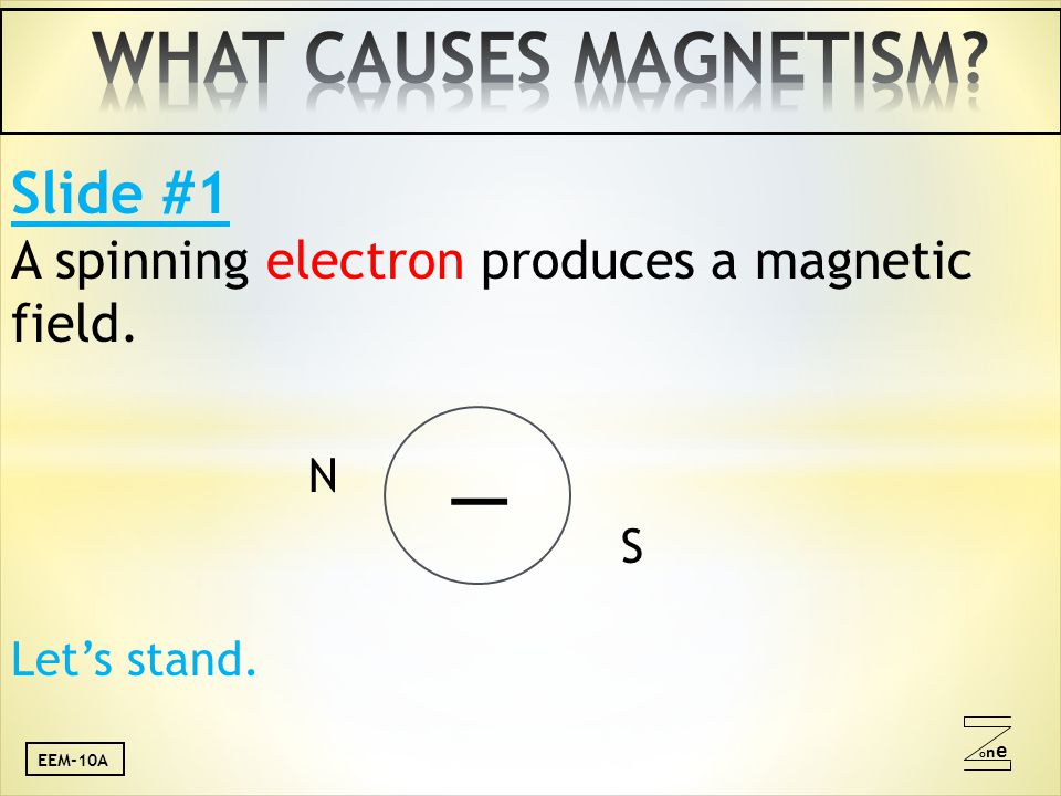 oneone Slide #1 A spinning electron produces a magnetic field. N _ S Let's stand. EEM-10A