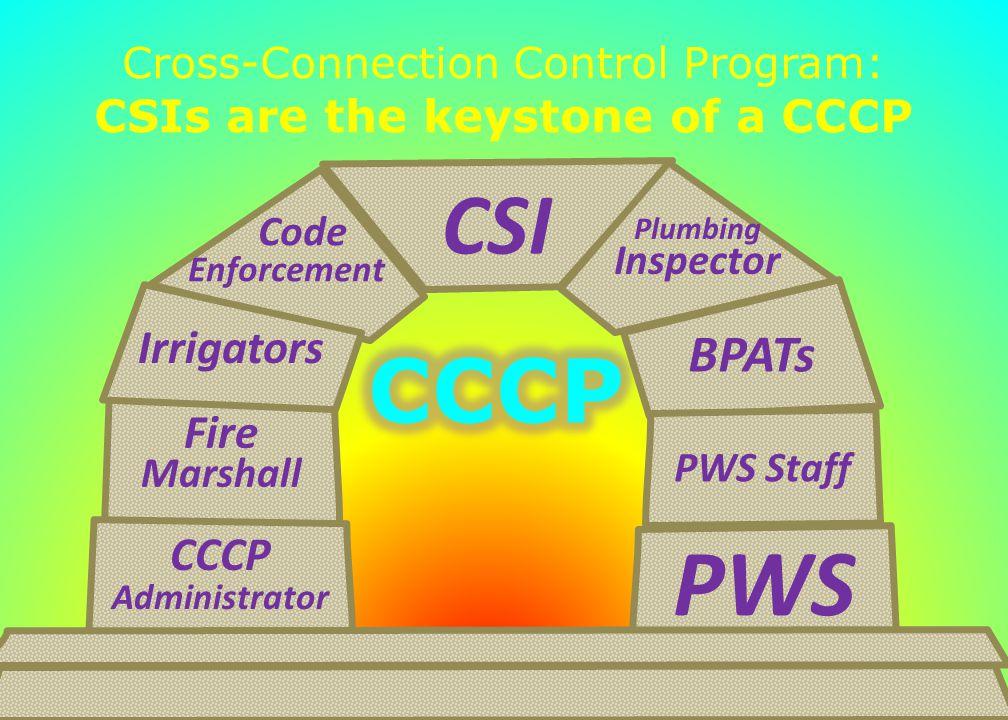 Cross-Connection Control Program: CSIs are the keystone of a CCCP 41 Code Enforcement Fire Marshall Irrigators CSI BPATs Plumbing Inspector PWS CCCP A