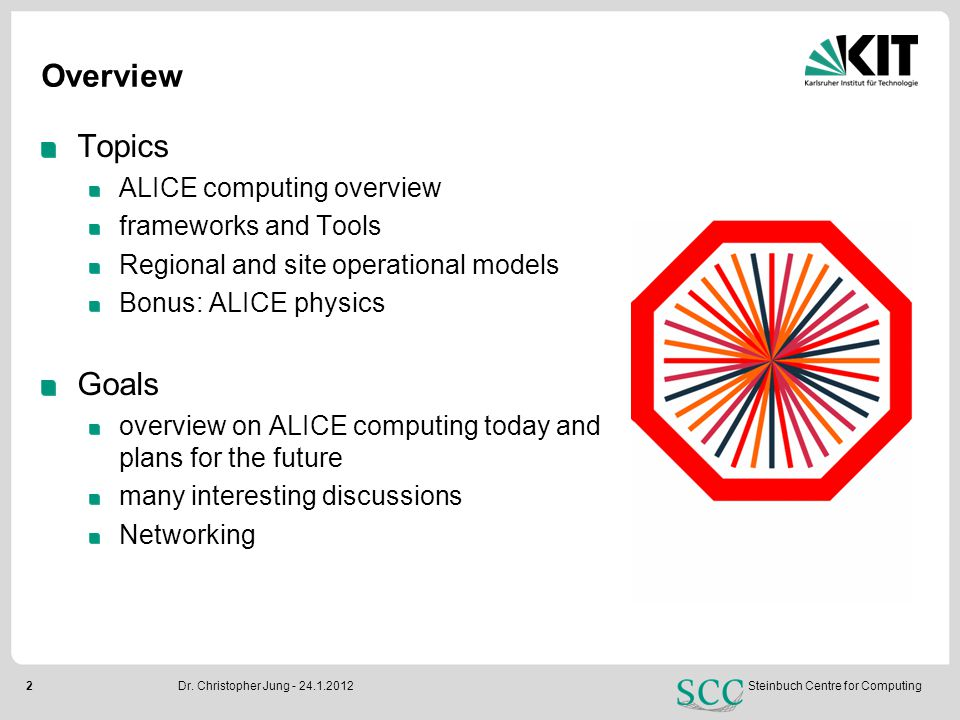 2Steinbuch Centre for Computing Overview Topics ALICE computing overview frameworks and Tools Regional and site operational models Bonus: ALICE physic