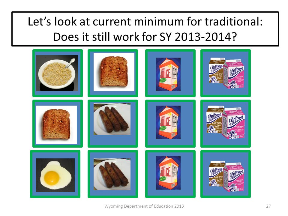 Let's look at current minimum for traditional: Does it still work for SY 2013-2014.
