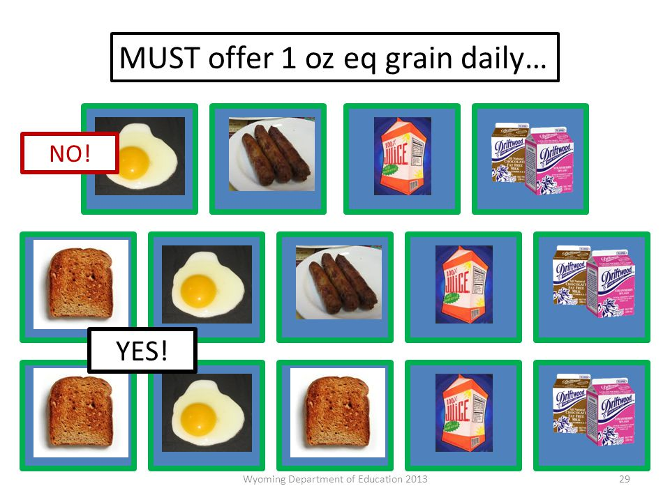 NO! MUST offer 1 oz eq grain daily… YES! 29Wyoming Department of Education 2013