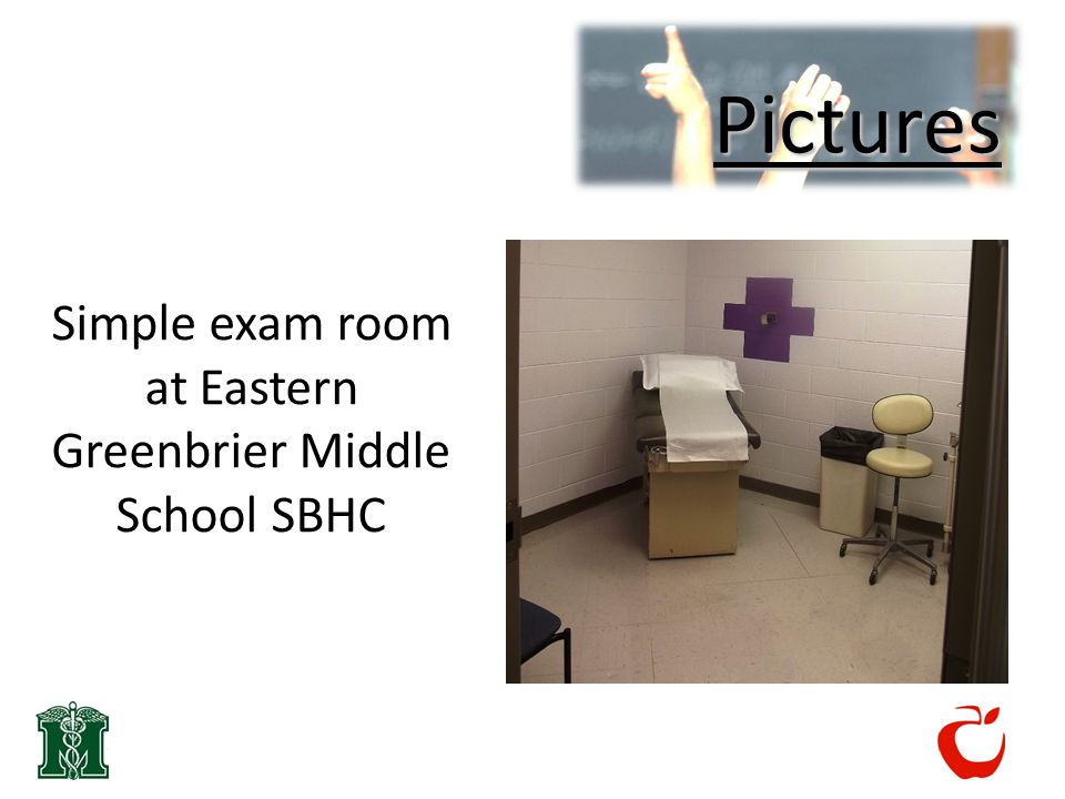 Pictures Simple exam room at Eastern Greenbrier Middle School SBHC